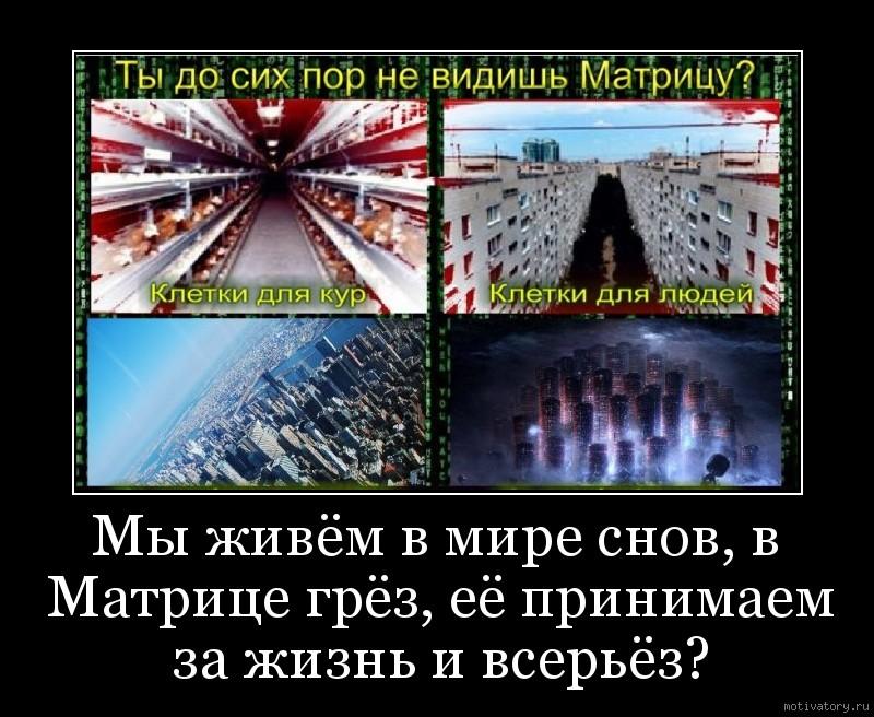 Мы живём в мире снов, в Матрице грёз, её принимаем за жизнь и всерьёз?