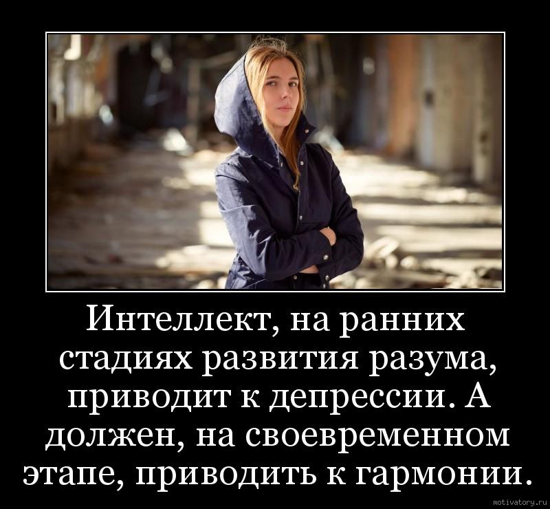 Интеллект, на ранних стадиях развития разума, приводит к депрессии. А должен, на своевременном этапе, приводить к гармонии.