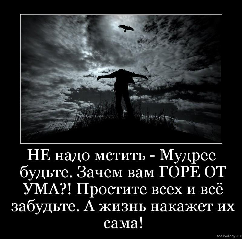 НЕ надо мстить - Мудрее будьте. Зачем вам ГОРЕ ОТ УМА?! Простите всех и всё забудьте. А жизнь накажет их сама!