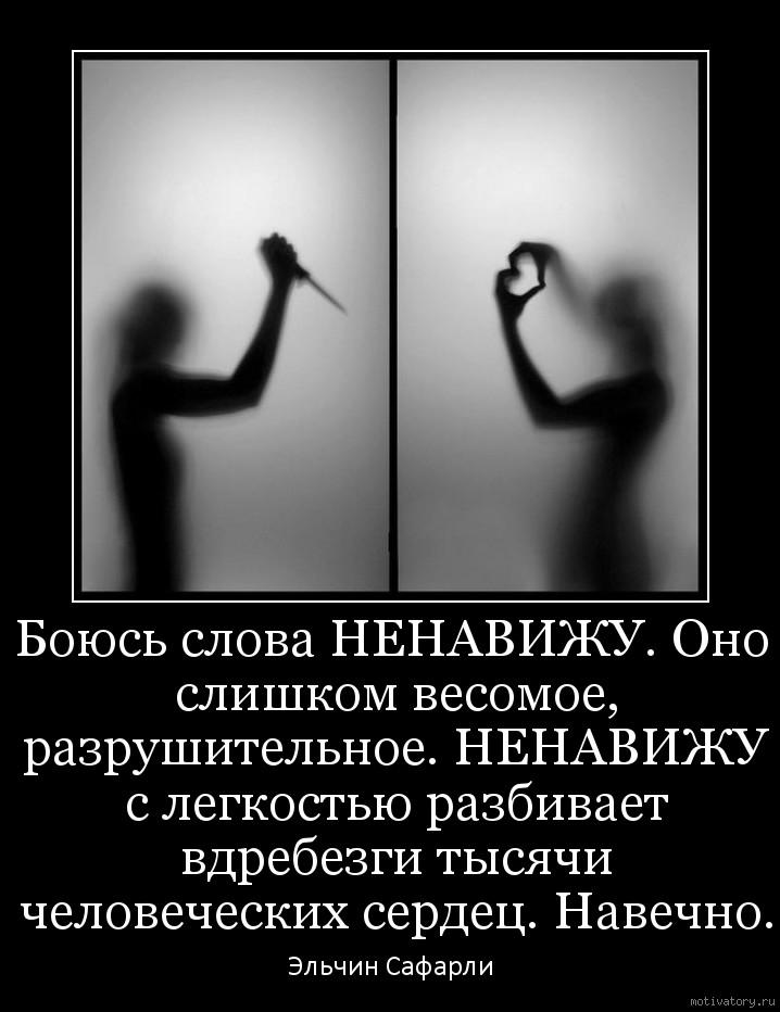 Боюсь слова НЕНАВИЖУ. Оно слишком весомое, разрушительное. НЕНАВИЖУ с легкостью разбивает вдребезги тысячи человеческих сердец. Навечно.
