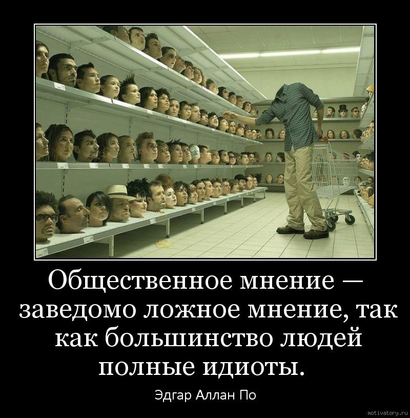 Общественное мнение — заведомо ложное мнение, так как большинство людей полные идиоты.