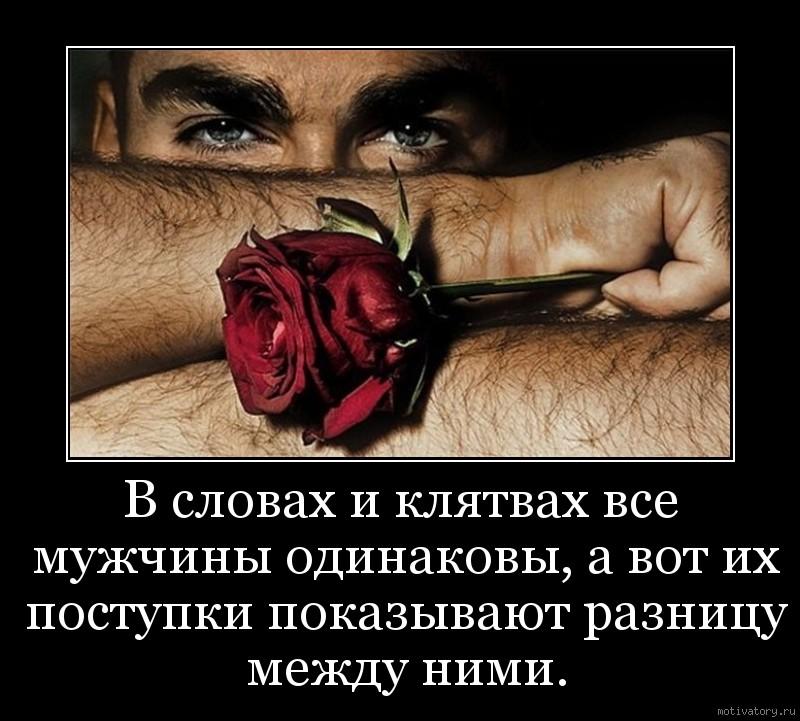 В словах и клятвах все мужчины одинаковы, а вот их поступки показывают разницу между ними.