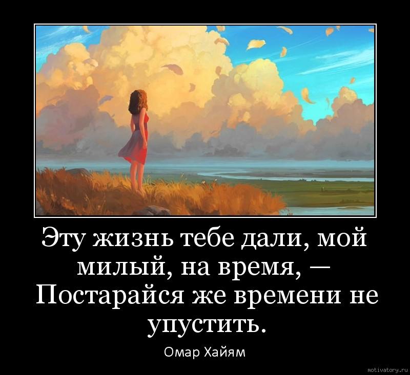 Эту жизнь тебе дали, мой милый, на время, —  Постарайся же времени не упустить.