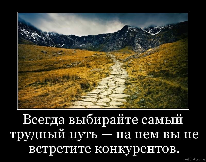 Всегда выбирайте самый трудный путь — на нем вы не встретите конкурентов.