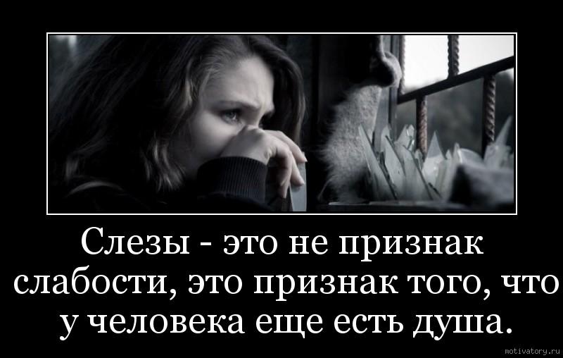 Слезы - это не признак слабости, это признак того, что у человека еще есть душа.