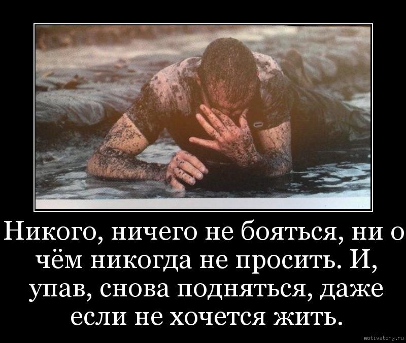 Никого, ничего не бояться, ни о чём никогда не просить. И, упав, снова подняться, даже если не хочется жить.