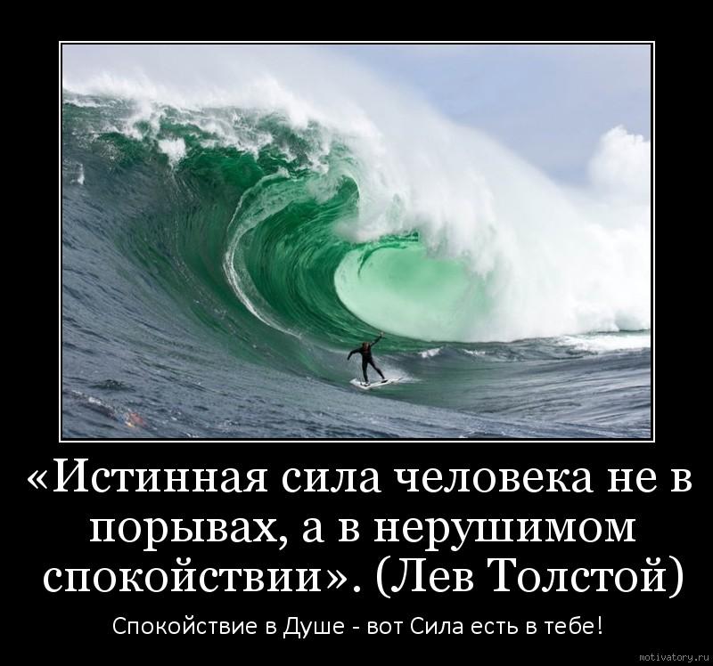 «Истинная сила человека не в порывах, а в нерушимом спокойствии». (Лев Толстой)