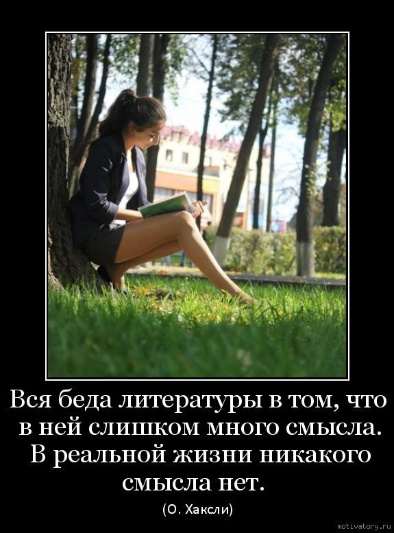 Вся беда литературы в том, что в ней слишком много смысла. В реальной жизни никакого смысла нет.