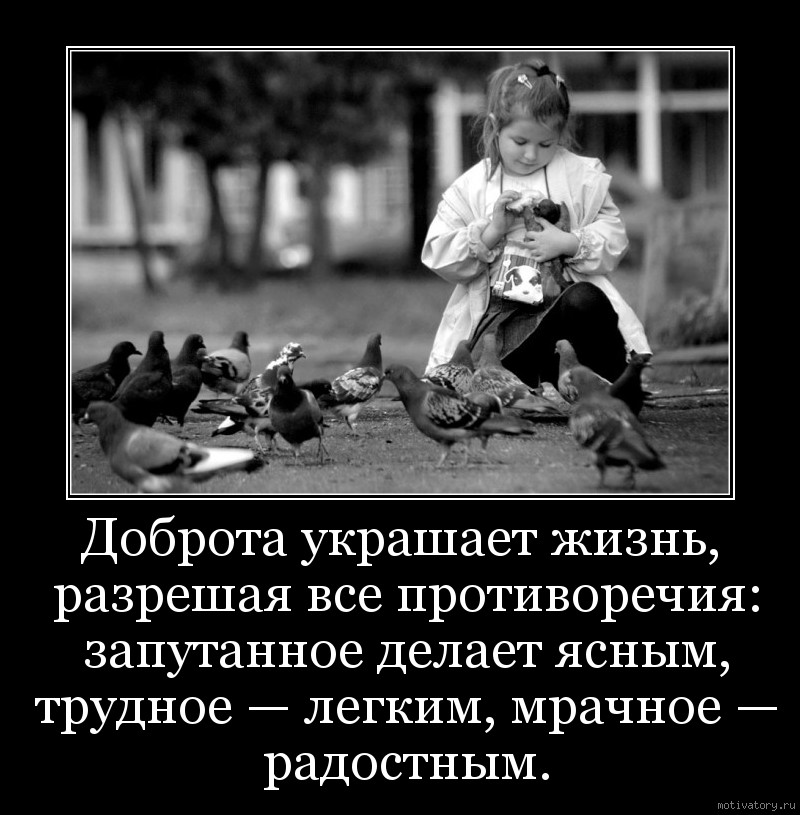 Доброта украшает жизнь, разрешая все противоречия: запутанное делает ясным, трудное — легким, мрачное — радостным.