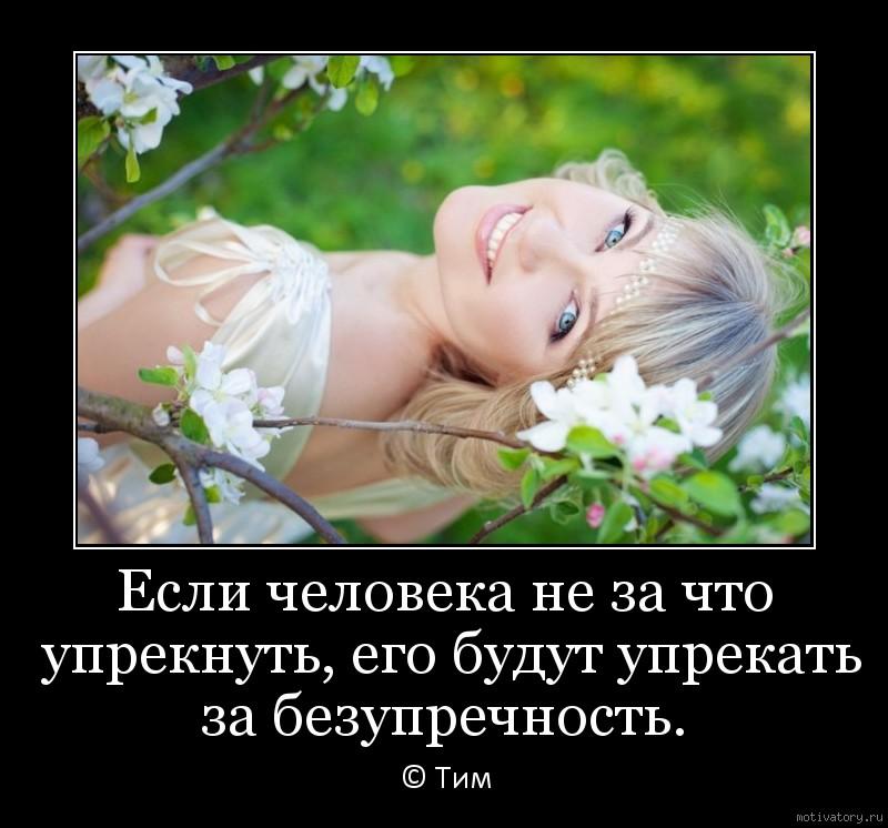 Если человека не за что упрекнуть, его будут упрекать за безупречность.