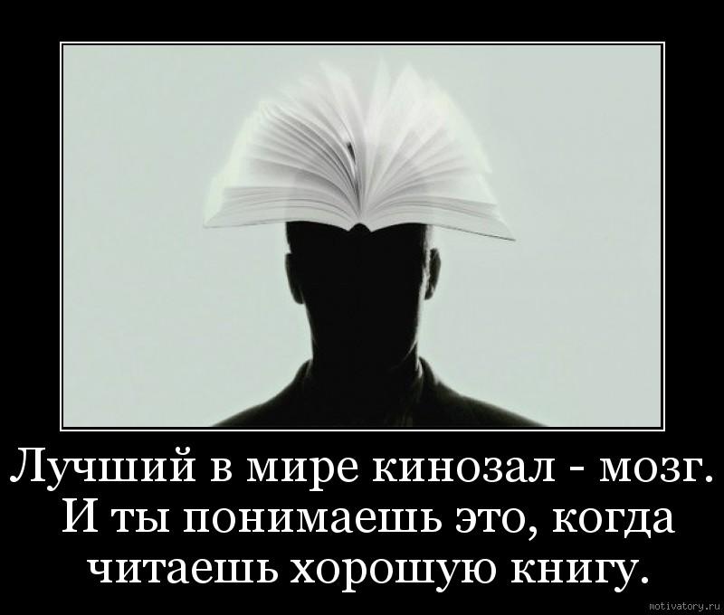 Лучший в мире кинозал - мозг. И ты понимаешь это, когда читаешь хорошую книгу.