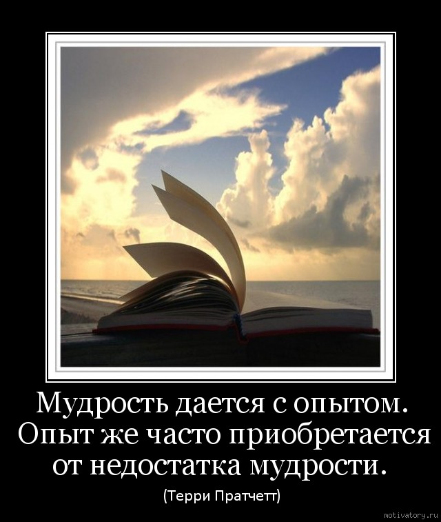 Мудрость дается с опытом. Опыт же часто приобретается от недостатка мудрости.