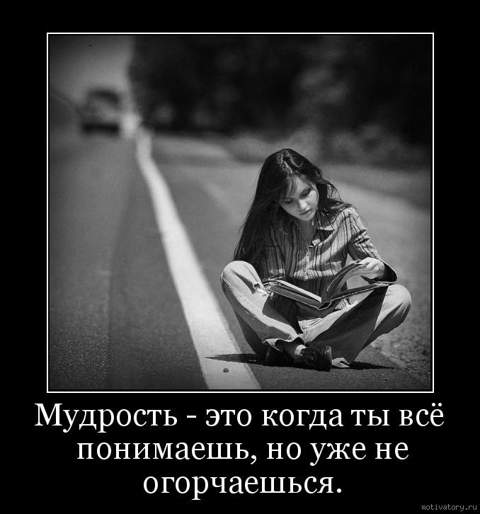 Мудрость - это когда ты всё понимаешь, но уже не огорчаешься.