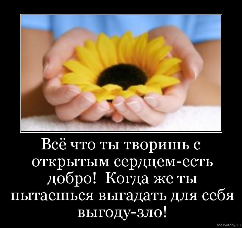 Всё что ты творишь с открытым сердцем-есть добро!  Когда же ты пытаешься выгадать для себя выгоду-зло!