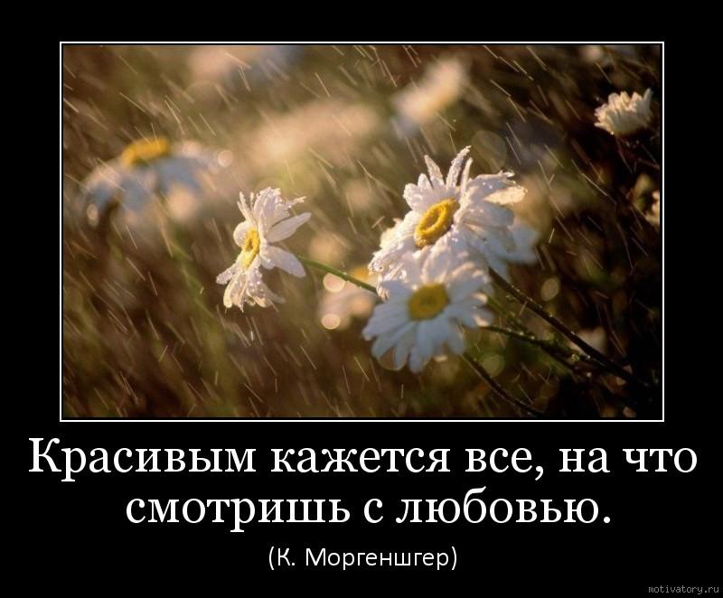 Красивым кажется все, на что смотришь с любовью.