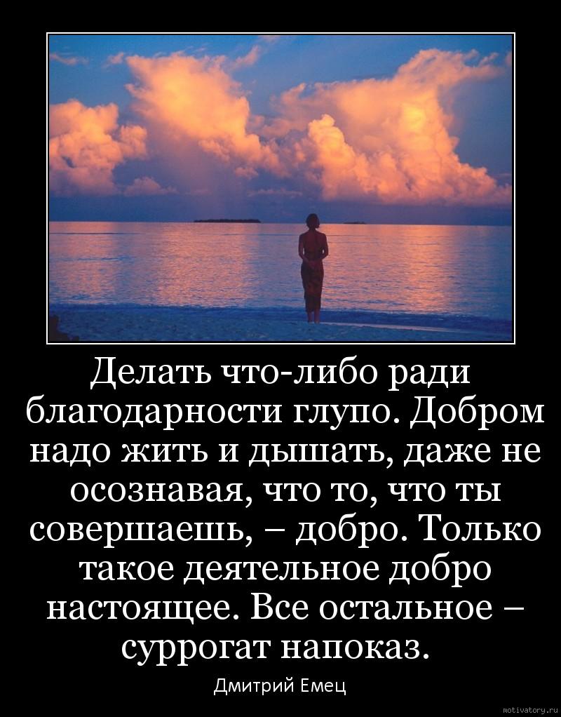 Делать что-либо ради благодарности глупо. Добром надо жить и дышать, даже не осознавая, что то, что ты совершаешь, – добро. Только такое деятельное добро настоящее. Все остальное – суррогат напоказ.
