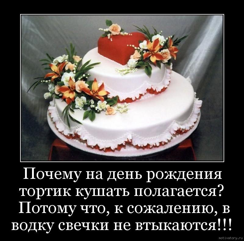 Почему на день рождения тортик кушать полагается?  Потому что, к сожалению, в водку свечки не втыкаются!!!