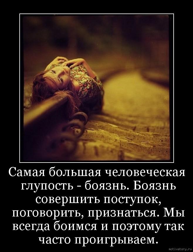 Самая большая человеческая глупость - боязнь. Боязнь совершить поступок, поговорить, признаться. Мы всегда боимся и поэтому так часто проигрываем.