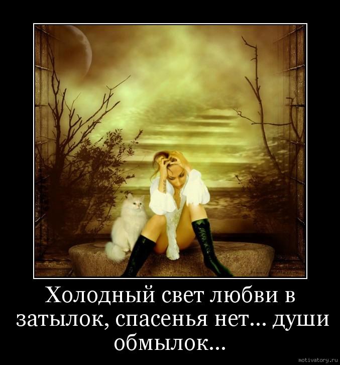 Холодный свет любви в затылок, спасенья нет... души обмылок...