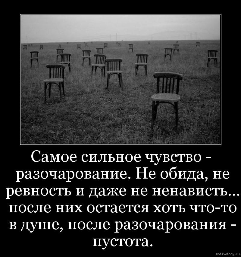 Самое сильное чувство - разочарование. Не обида, не ревность и даже не ненависть… после них остается хоть что-то в душе, после разочарования - пустота.