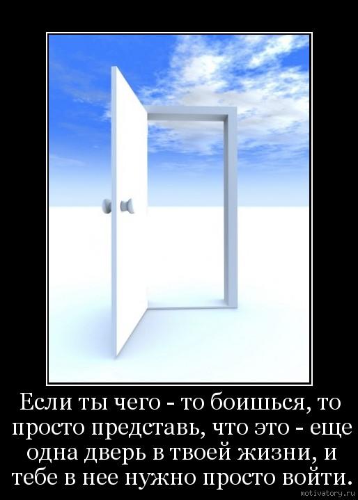 Если ты чего - то боишься, то просто представь, что это - еще одна дверь в твоей жизни, и тебе в нее нужно просто войти.