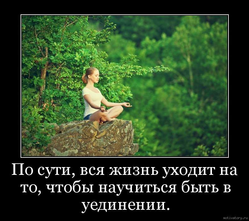По сути, вся жизнь уходит на то, чтобы научиться быть в уединении.