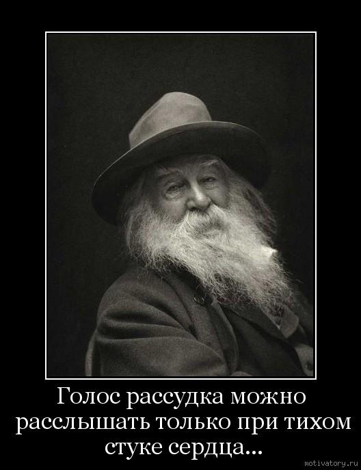 Голос рассудка можно расслышать только при тихом стуке сердца...