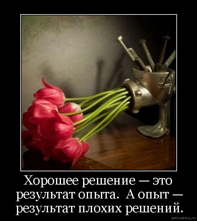 Хорошее решение — это результат опыта.  А опыт — результат плохих решений.