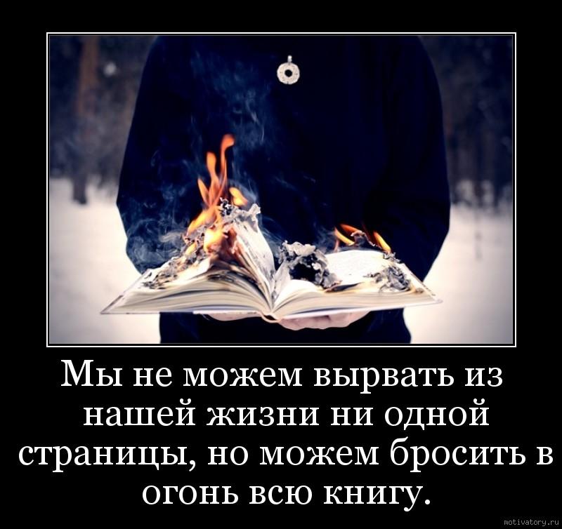 Мы не можем вырвать из нашей жизни ни одной страницы, но можем бросить в огонь всю книгу.