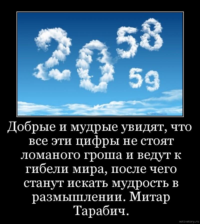 Добрые и мудрые увидят, что все эти цифры не стоят ломаного гроша и ведут к гибели мира, после чего станут искать мудрость в размышлении. Митар Тарабич.