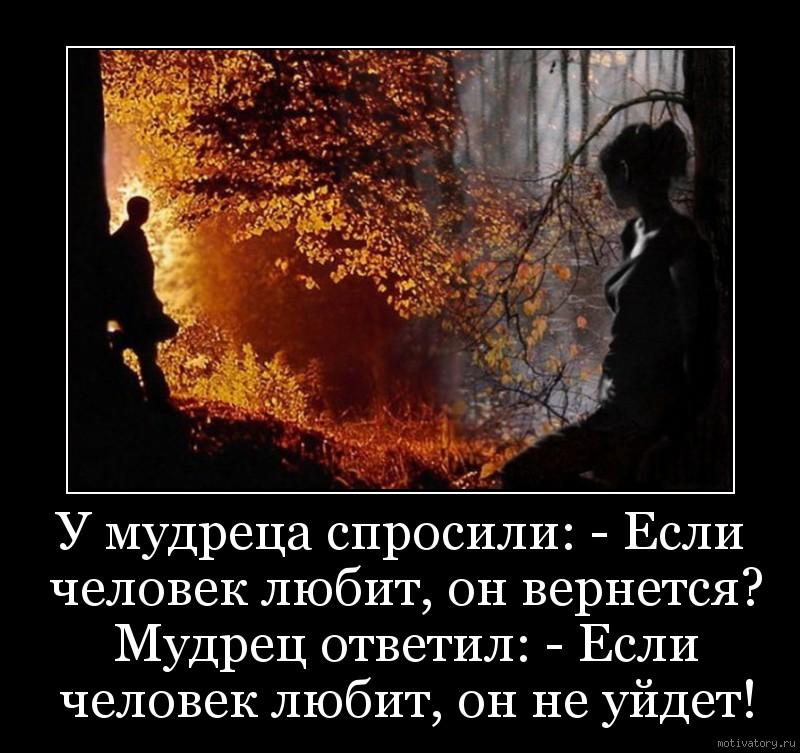 У мудреца спросили: - Если человек любит, он вернется? Мудрец ответил: - Если человек любит, он не уйдет!