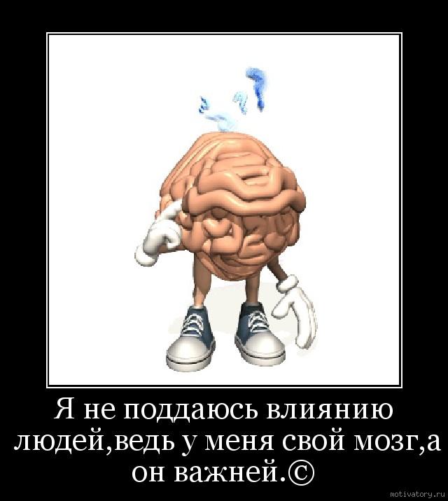 Я не поддаюсь влиянию людей,ведь у меня свой мозг,а он важней.©