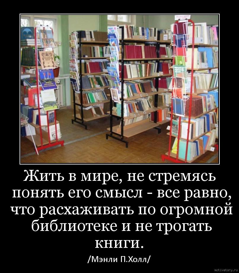 Жить в мире, не стремясь понять его смысл - все равно, что расхаживать по огромной библиотеке и не трогать книги.