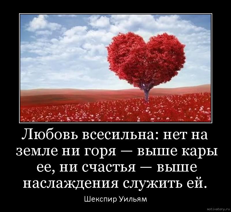 Любовь всесильна: нет на земле ни горя — выше кары ее, ни счастья — выше наслаждения служить ей.
