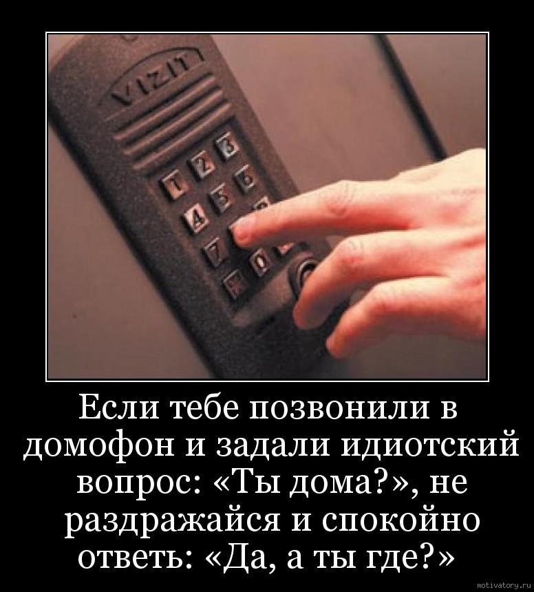 Если тебе позвонили в домофон и задали идиотский вопрос: «Ты дома?», не раздражайся и спокойно ответь: «Да, а ты где?»
