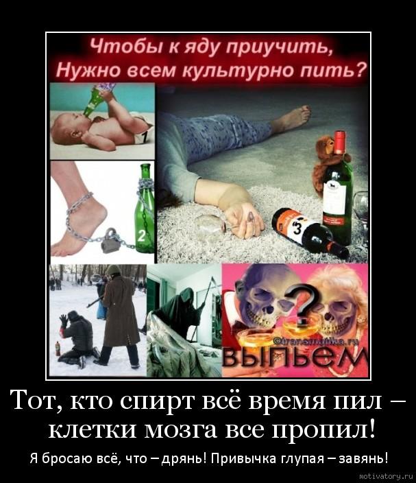 Тот, кто спирт всё время пил – клетки мозга все пропил!