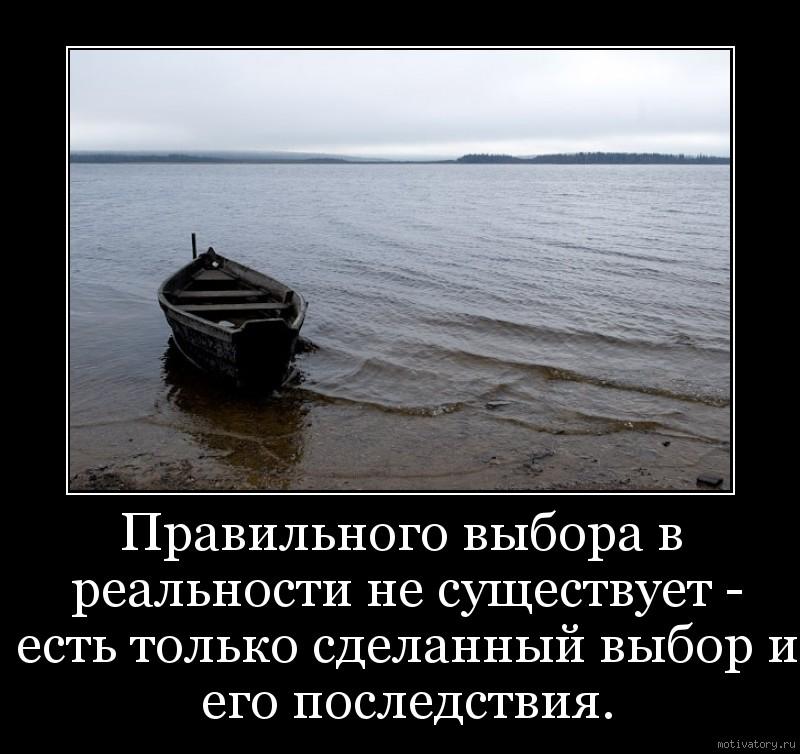 Правильного выбора в реальности не существует - есть только сделанный выбор и его последствия.