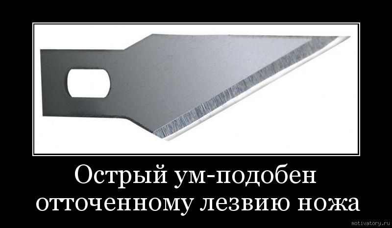 Острый ум-подобен отточенному лезвию ножа