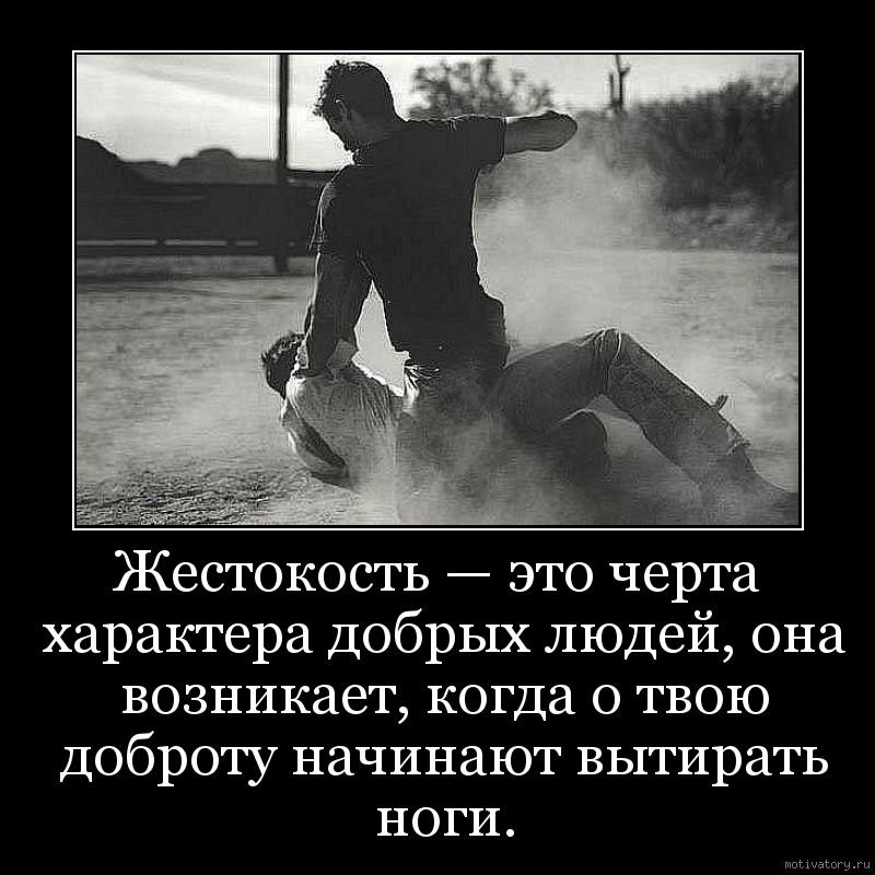 Жестокость — это черта характера добрых людей, она возникает, когда о твою доброту начинают вытирать ноги.