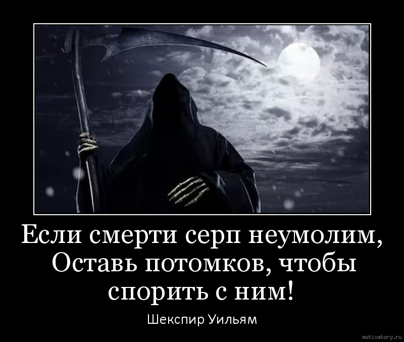 Если смерти серп неумолим, Оставь потомков, чтобы спорить с ним!