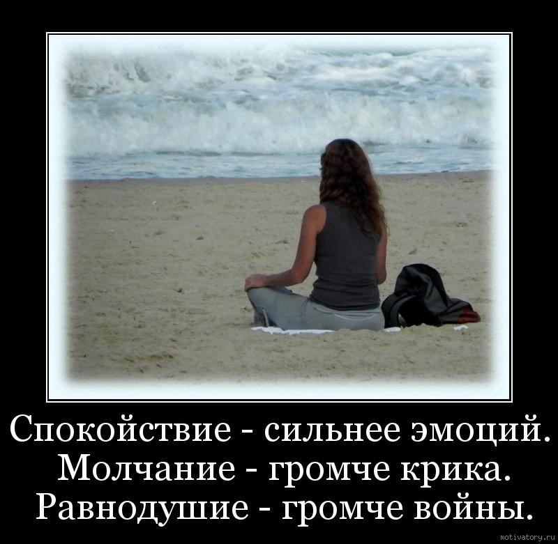 Спокойствие - сильнее эмоций. Молчание - громче крика. Равнодушие - громче войны.
