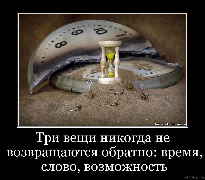 Три вещи никогда не возвращаются обратно: время, слово, возможность