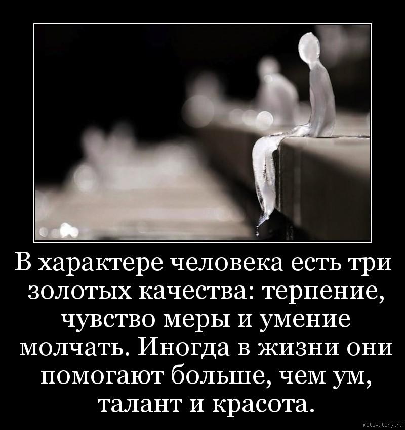 В характере человека есть три золотых качества: терпение, чувство меры и умение молчать. Иногда в жизни они помогают больше, чем ум, талант и красота.