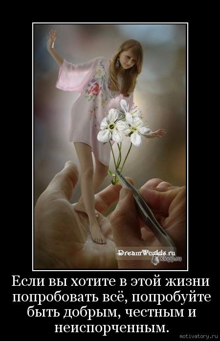 Если вы хотите в этой жизни попробовать всё, попробуйте быть добрым, честным и неиспорченным.