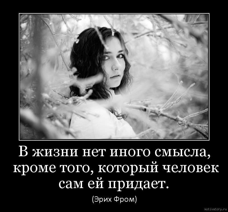 В жизни нет иного смысла, кроме того, который человек сам ей придает.