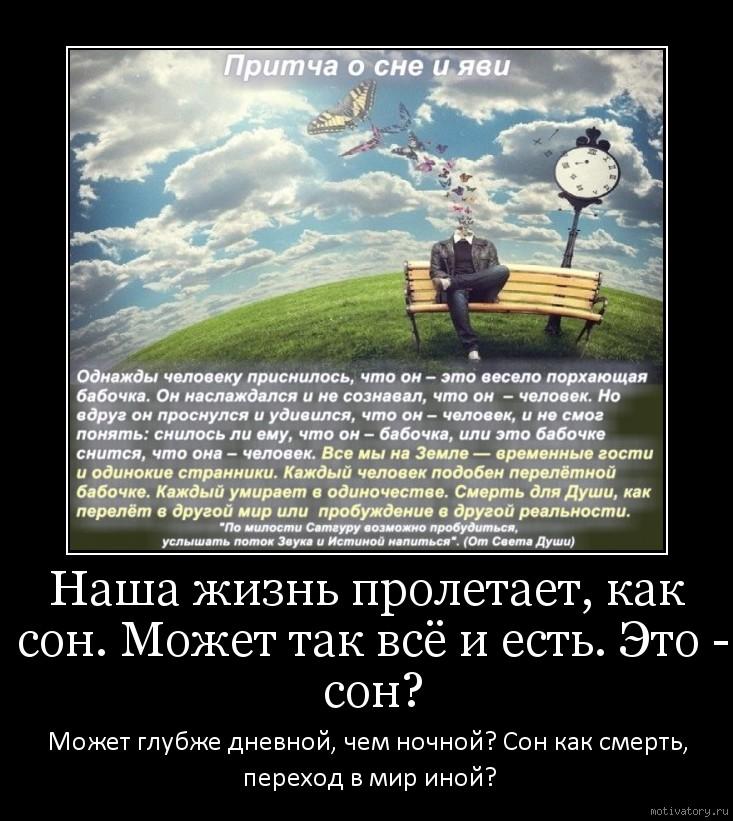 Наша жизнь пролетает, как сон. Может так всё и есть. Это - сон?