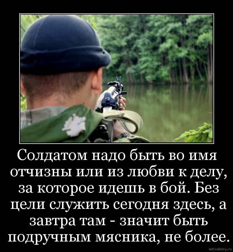 Солдатом надо быть во имя отчизны или из любви к делу, за которое идешь в бой. Без цели служить сегодня здесь, а завтра там - значит быть подручным мясника, не более.