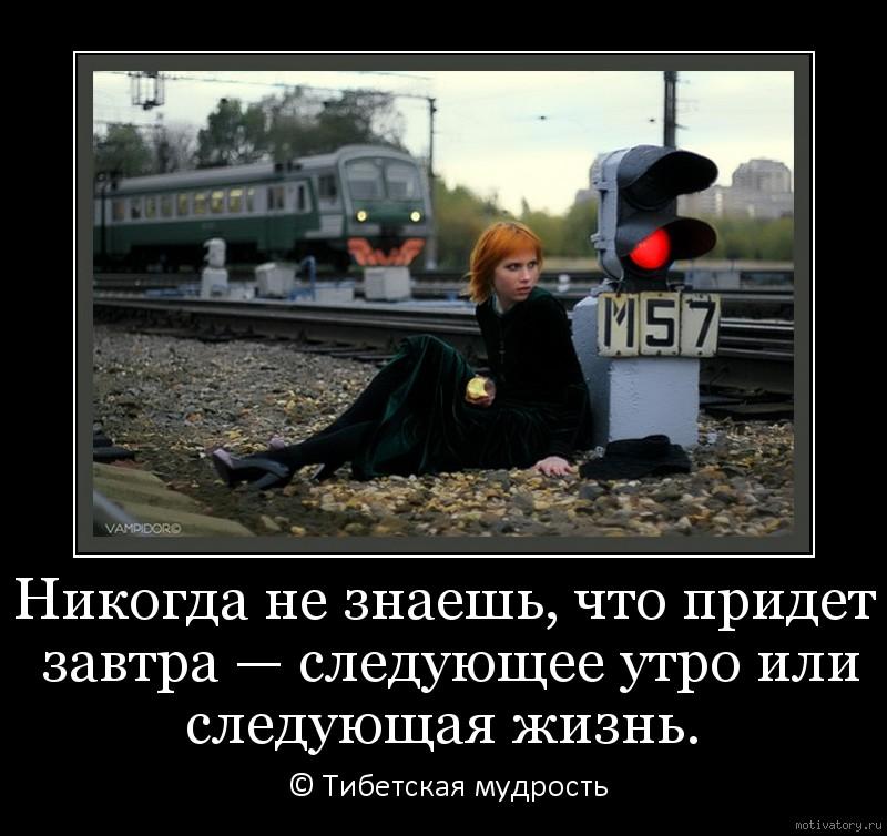 Никогда не знаешь, что придет завтра — следующее утро или следующая жизнь.