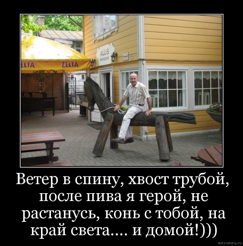 Ветер в спину, хвост трубой, после пива я герой, не растанусь, конь с тобой, на край света.... и домой!)))