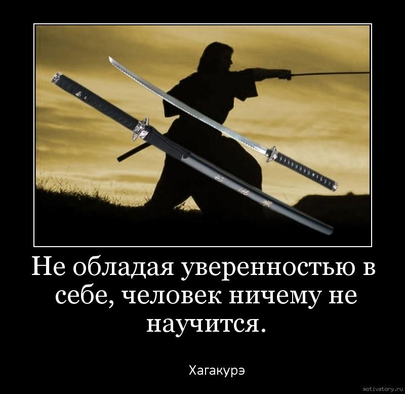 Не обладая уверенностью в себе, человек ничему не научится.